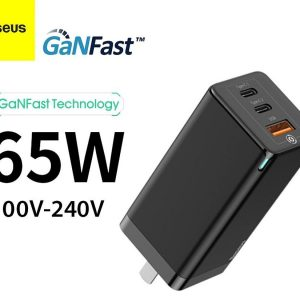 Baseus 65W GaN Charger Quick Charge 4.0 3.0 Type C PD USB Charger - Black