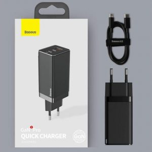 Baseus CCGAN-A01 65W 2 USB-C Type-C + USB Ports GaN Mini Fast Charge Charger With Type C To Type C Cable Foldable Pins, CN Plug