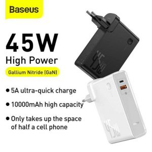 Baseus GaN Charger 2 in 1 Quick Charger 45W With 10000mAh Power Bank