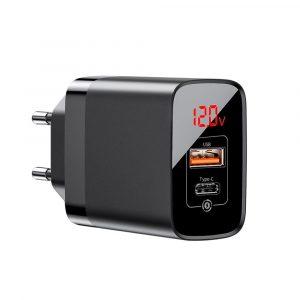 Baseus Mirror Lake Dual QC Digital Display Quick Charger A+C EU 18W - Black