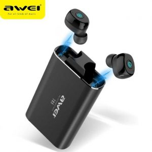 Awei T85 TWS Twins Wireless Bluetooth V5.0 Earphones IPX4 Waterproof Running Sports With Recharge Base - Black