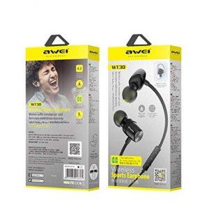 Awei WT30 Magnetic Sports Bluetooth Earphone Earbuds - Black