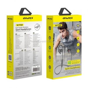 Awei WT50 IPX4 Waterproof Ear-mounted Wireless Bluetooth Earphone with Microphone - Black