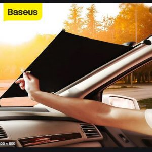 Baseus Auto Close Car Front Window Sunshade (Retractable,With Suction Cup)-Sliver