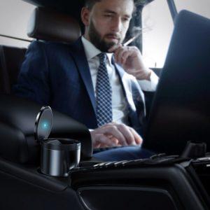Baseus Premium CRYHG01-0G Car Ashtray- Dark Grey