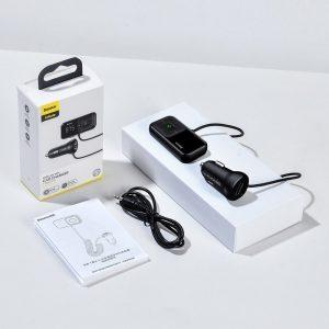 Original Baseus S-16 FM Transmitter Bluetooth 5.0 2x USB Car Charger AUX MP3 TF Micro SD 3,1 A Black (CCTM-E01)