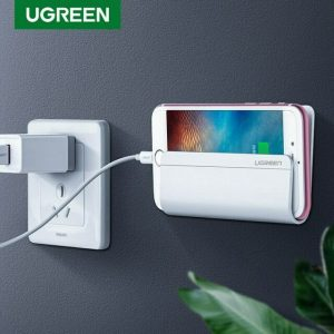 Original Ugreen 30394 White Adhesive Wall Mount Cell Phone Charging Holder