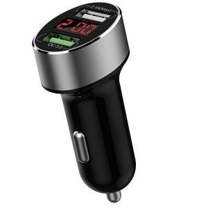 WIWU QC200 36W Mini Intelligent Digital Display Dual USB Car Charger