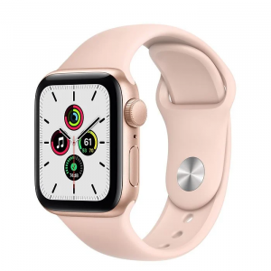 Apple Watch Series SE 40mm GPS Aluminum Case with Black Sport Band - Pink