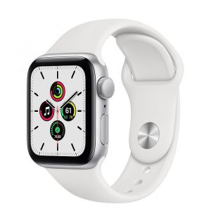 Apple Watch Series SE 40mm GPS Aluminum Case with Black Sport Band White