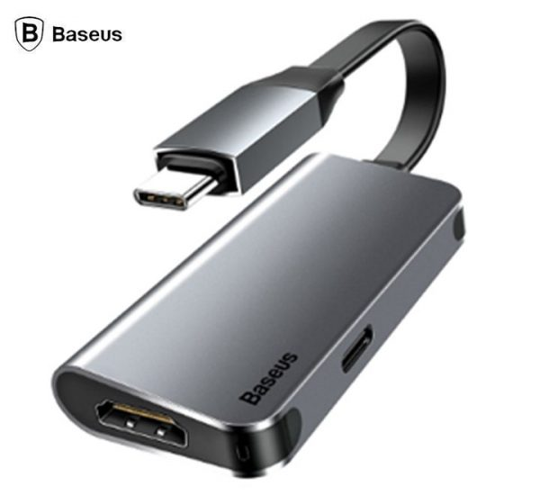 Baseus CAHUB-E0G USB Type C 3.0 Type C To 4K HDMI + Type C PD 60W Flash Charger HUB