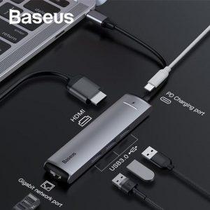 Baseus CAHUB-J0G Type C To USB 3.0 HDMI RJ45 Hub For MacBook