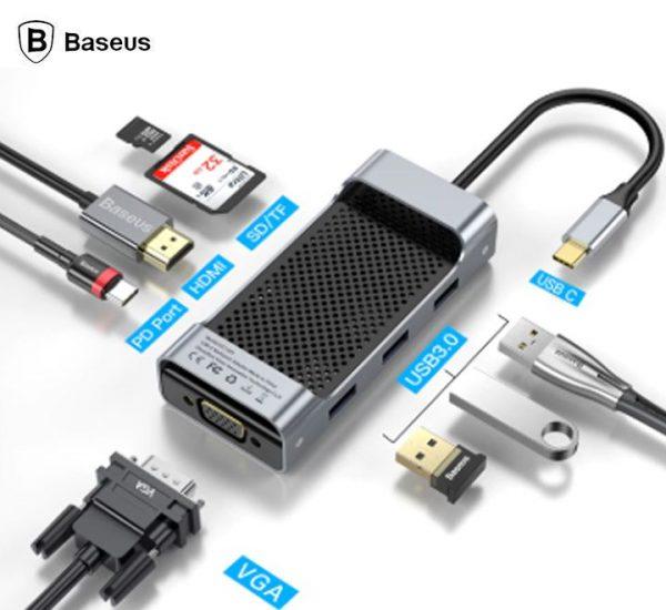 Baseus CATXF-0G Type C HUB To USB3.0+HDMI/VGA Hub