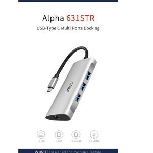 WIWU A631 Alpha 6 In 1 Type C To 3-Prot USB 3.0 SD TF Card Reader RJ45 Converter Multifunctional HUB Adapter