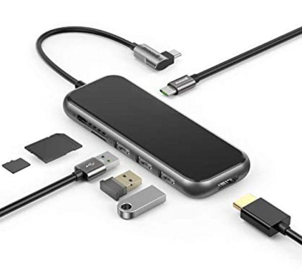 Baseus CAHUB-CZ0G USB C 3.0 Hub With 3 Usb Ports TF+SD Card Type C Usb Hub To USB 3.0 HD4K Audio Hub
