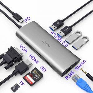 WIWU 11 In 1 Multi USB 3.0 Hub For MacBook Pro USB Adapter Dock Charging Type-C Hub HDMI RJ45 VGA USB Splitter 3.0 USB C Hub