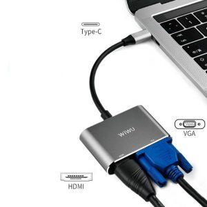 WiWU A20VH Type-C T0 HDMI & VGA Hub A20VH