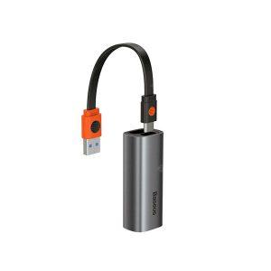 Baseus CAHUB-AF0G Steel Cannon Series USB A Type-C Bidirectional Gigabit LAN Adapter – Dark Gray