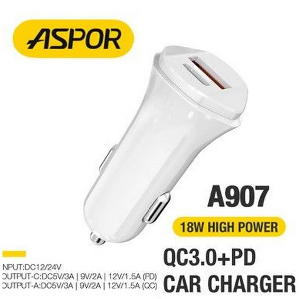 ASPOR A907 PD +QC 18W Fast Car Charger LED Light